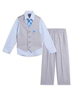 Boys' 4-piece Set With Dress Shirt, Tie, Vest, And Pants