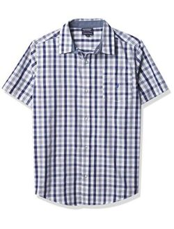 Boys' Short Sleeve Plaid Woven Button Down Tee