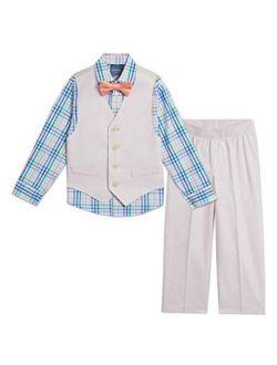 Boys' 4-piece Set With Dress Shirt, Bow Tie, Vest, And Pants
