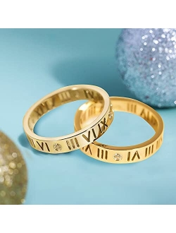 QIEWFIH Women Trendy Rings For Teen Girls Personalized Stainless Steel Love Ring Birthday Present For Her Friendship Teen Gold Hollow Roman Numeral Plated Rings