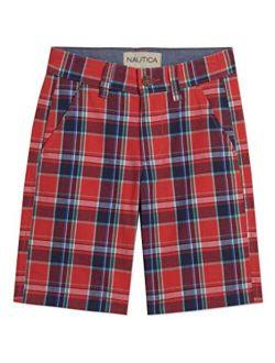 Boys' Flat Front Plaid Shorts