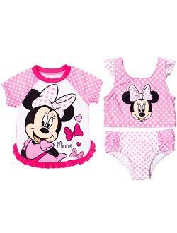 Minnie Mouse Toddler Girls Ruffle 3 Piece Rash Guard Bikini Swimsuit Set