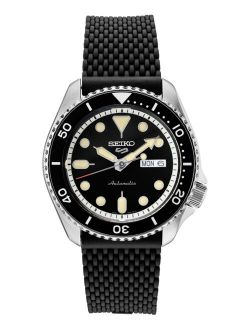 Men's Automatic Sport Black Silicone Mesh Strap Watch 42.5mm
