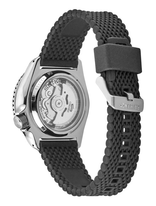 Seiko Men's Automatic Sport Black Silicone Mesh Strap Watch 42.5mm