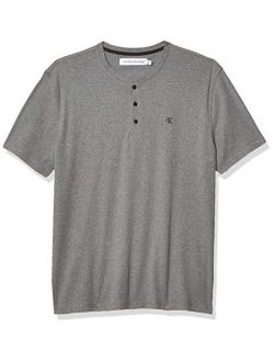 Men's Short Sleeve Henley Ribbed Logo T-shirt