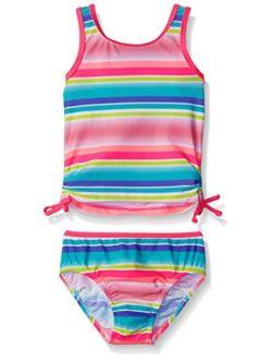Osh Kosh Girls' Multi Stripe Two Piece Tankini