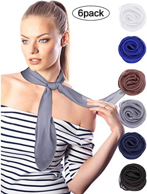 Boao 6 Pieces Chiffon Scarf Polyester Scarf Bandana Soft Ribbon Scarf Satin Ribbon Scarves, 27.5 by 27.5 Inches