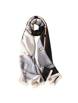 YMXHHB Fashion Scarves Scarf 100% Silk Feeling Scarf Silk Like Scarves Long Lightweight Sunscreen Shawls for Women