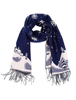 Unisex Men Women Reversible Winter Scarf Oversized Warm Wrap Shawl Thickened Pashmina With Tassels