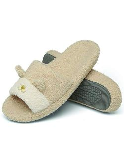 Womens Fuzzy Open Toe House Slippers Memory Foam Slip On Soft Plush Slides Cute Indoor/outdoor Slipper With Comfort Heel Cup