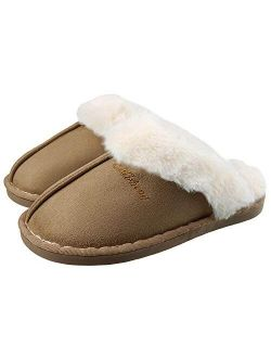 Women's Slippers Warm Fluffy Plush Micro Suede Memory Foam House Slippers With Anti-sikd Sole Indoor/outdoor