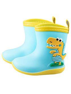 Kid's Cute Rain Boots Waterproof Rubber Boot Shoes Boys Girls Dinosaur Rain Shoes Non-slip