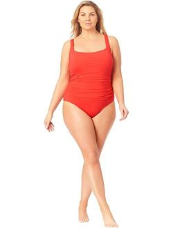 Plus Size Live in Color Square Neck Front Shirred Over the Shoulder One-Piece