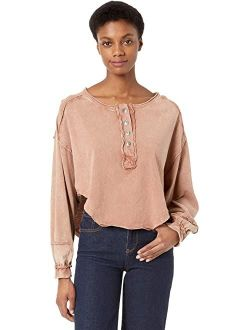 Women's Melodi Henley Solid Long, balloon sleeves with ribbed cuffs