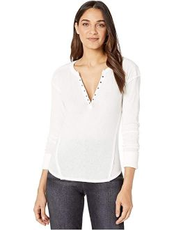 Women's Solid Long Sleeve V Neck Military Mix Henley Top