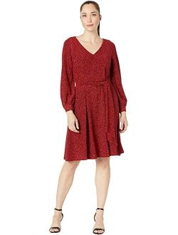 Glitter Jersey Belted Dress  with V-Neck