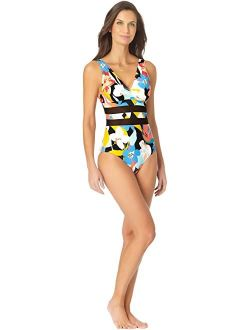 Modern Blooms Mesh Insert Over the Shoulder Triangle One-Piece