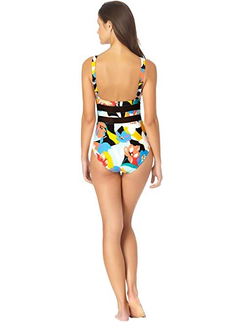 Anne Cole Modern Blooms Mesh Insert Over the Shoulder Triangle One-Piece