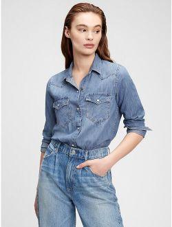 Women's Solid Denim Long sleeves Western Shirt