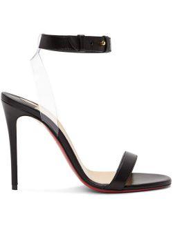 Black Jonatina 100 Heeled Open Almond Toe Transparent PVC Strap Sandals