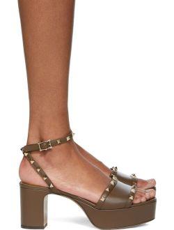 Taupe Rockstud Platform Sandals