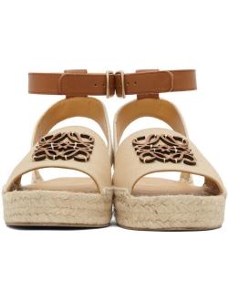 Beige Anagram Espadrilles Canvas flat Adjustable Leather Ankle Strap Sandals