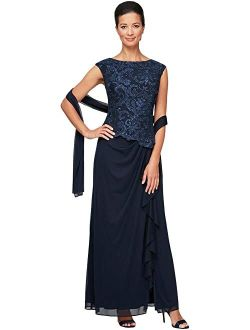 Long Sleeveless Embroidered Mock Dress with Ruched Skirt Detail and Lace Bodice
