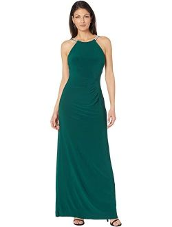 Betsy & Adam Long Halter Jersey Gown with Rhinestone Straps