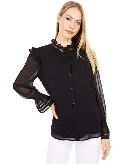 Women's Solid Long Sleeve High Collar Shirt