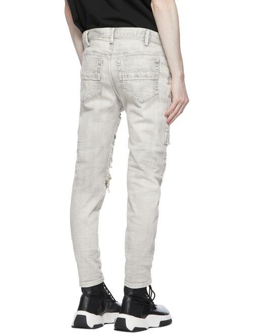 Grey Denim Distressed Stretch Jeans