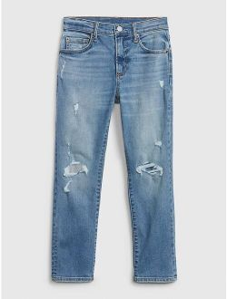 Kids Destructed Athletic Taper Jeans with Washwell™