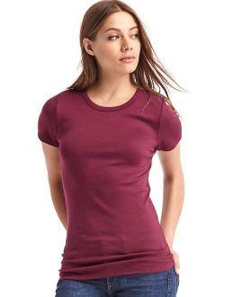 Women's Solid Short sleeves Modern Crewneck T-Shirt