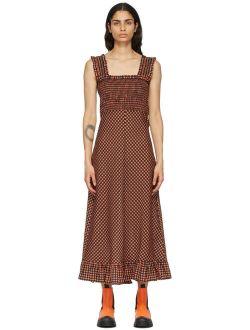 Orange & Black Seersucker Check Long Dress