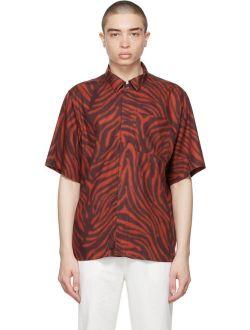 Red & Burgundy Farson Animal Print Shirt