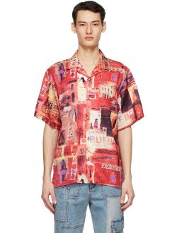 Red Bueno Printed Notch Collar Shirt