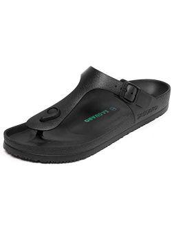Men's Women's Comfort Slides Double Buckle Sandals Adjustable Eva Flat Sandals Lightweight Flip Flops