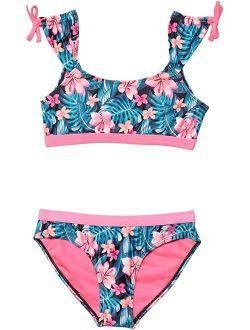 UPF 50+ Crop Top Tankini Swimsuit Set (Big Kids)