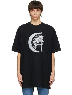 Black Star Girl Crew Neck Half Sleeve T-Shirt
