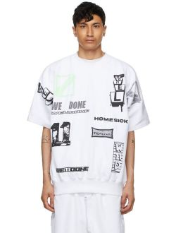 White Graphic All Over Crew Neck Short Sleeve T-Shirt
