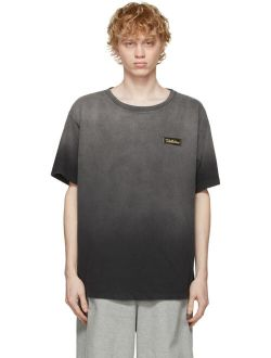 Black Washed Ombre Round Neck Half Sleeve T-Shirt