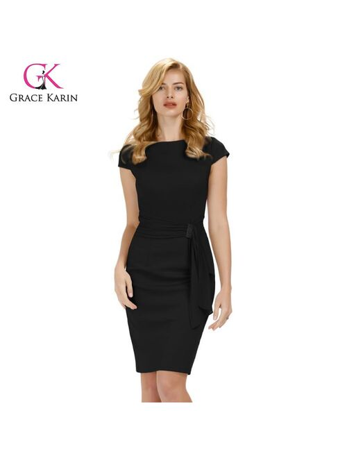 Grace Karin Office Lady Cap Sleeve Pencil Dress Summer Women Hips-Wrapped Bodycon Dress Business Work Party Midi Dresses 2020