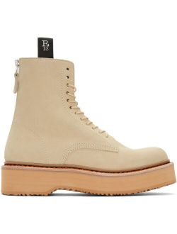 Beige Single Stack Boots