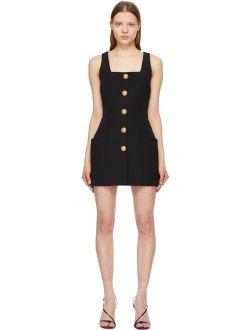 Black Wool Sleeveless Button Dress