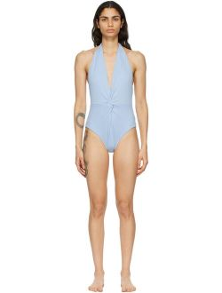 Blue Recycled Twist One-Piece Swimsuit