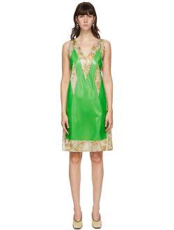 SSENSE Exclusive Green Satin & Latex Dress
