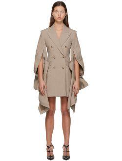 Y/PROJECT Taupe Ruffle Sleeve Blazer Dress