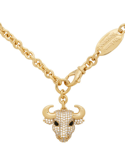 Gold Bull Pendant Necklace