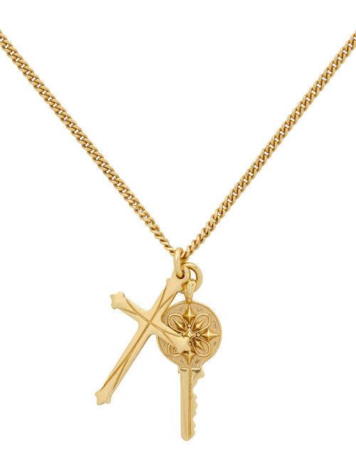 Gold Cross & Key Pendant Necklace