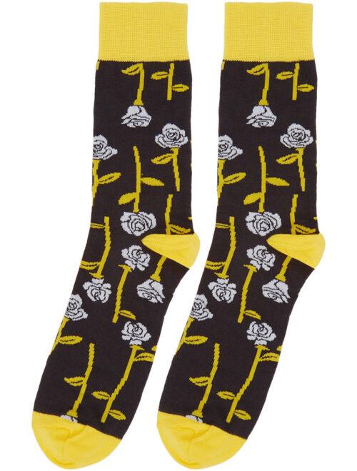 Black & Yellow All Over Roses Socks
