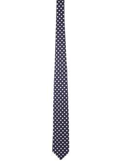 Navy & White Silk Dot Print Tie
